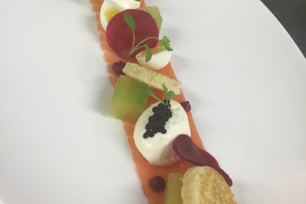 Smoked salmon with horseradish crème fraiche and beetroot