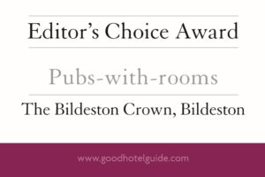 The Good Hotel Guide 2019 – The Bildeston Crown is one of the winners of the Editor's Choice 2019 awards for Pub-with-Rooms