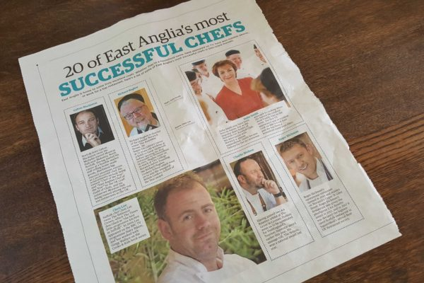 Chris Lee – front page of 20 of East Anglia's most Successful Chefs feature.